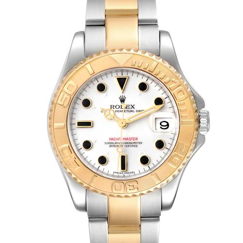 Photo of Rolex Yachtmaster 35 Midsize Steel Yellow Gold Unisex Watch 168623 Box Card