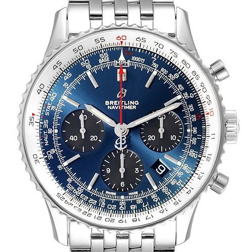 Photo of Breitling Navitimer 01 Blue Dial Limited Edition Mens Watch AB0121 Box Card