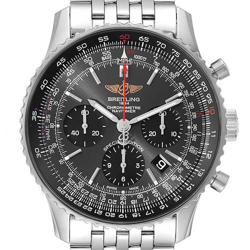 Photo of Breitling Navitimer 01 Grey Dial Limited Edition Mens Watch AB0121 Box Card