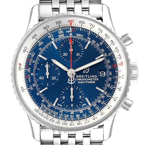Photo of Breitling Navitimer Heritage Blue Dial Steel Mens Watch A13324 Box Card