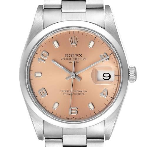 Photo of Rolex Date Salmon Dial Oyster Bracelet Steel Mens Watch 15200