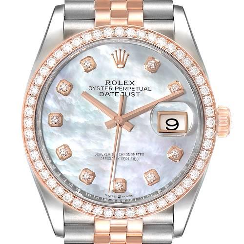 Photo of Rolex Datejust 36 Steel Rose Gold MOP Diamond Unisex Watch 126281 Unworn