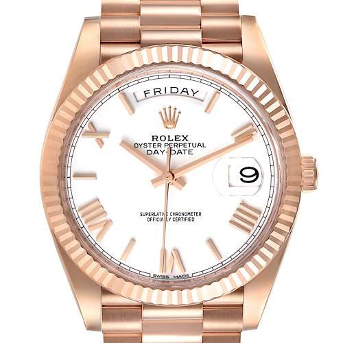 Photo of Rolex Day-Date 40 President Rose Gold White Dial Mens Watch 228235 Unworn