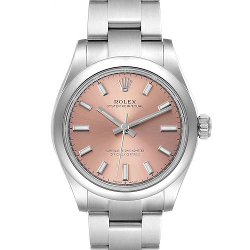 Photo of Rolex Midsize 31mm Pink Dial Automatic Steel Ladies Watch 277200 Unworn