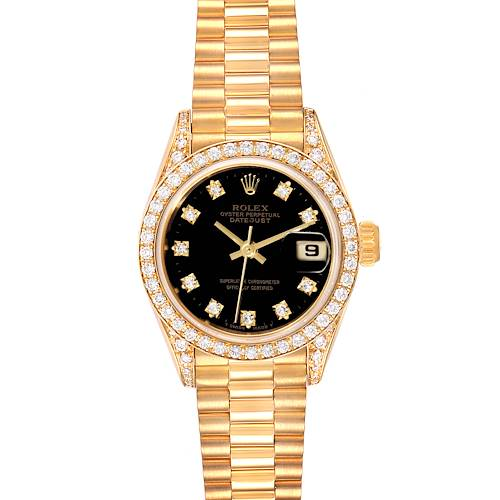 Photo of Rolex President Datejust Yellow Gold Diamond Ladies Watch 69158 Box Papers