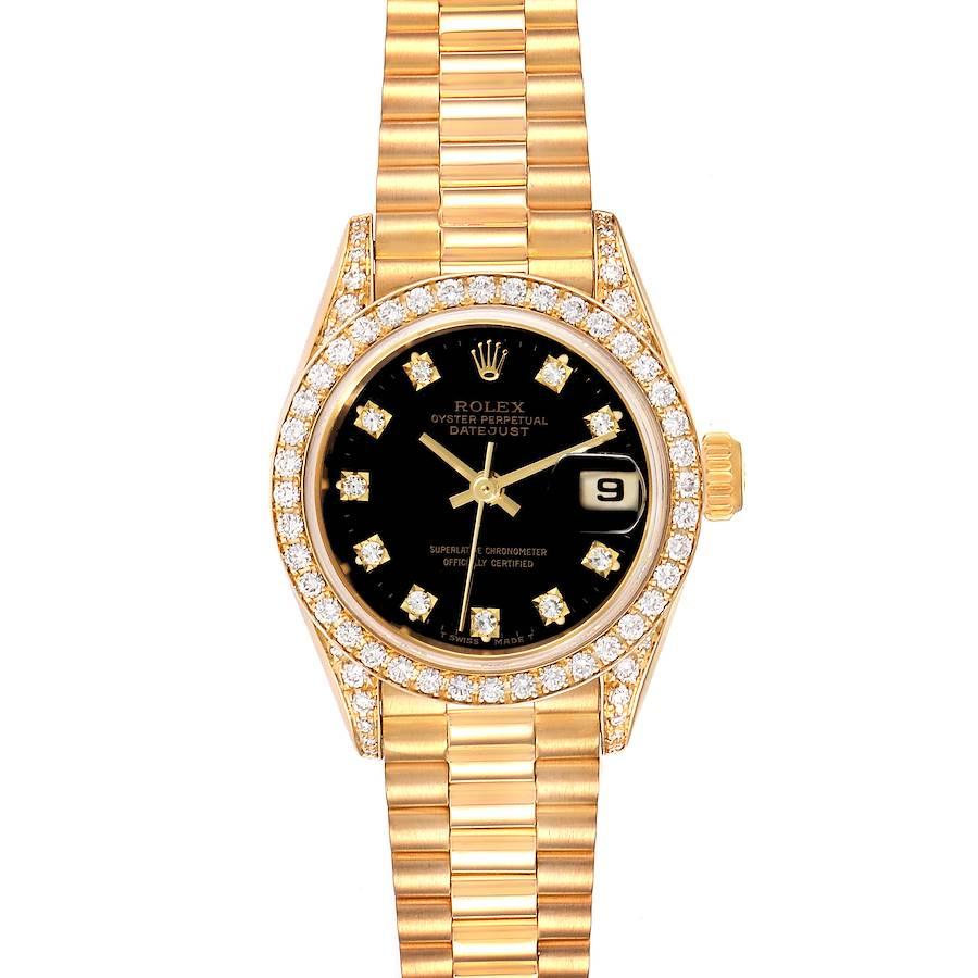 Rolex President Datejust Yellow Gold Diamond Ladies Watch 69158 Box Papers SwissWatchExpo