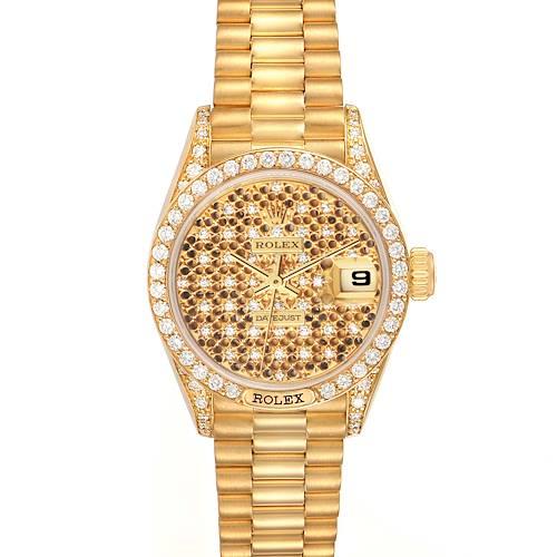 Photo of Rolex President Datejust Yellow Gold Honeycomb Diamond Watch 69158