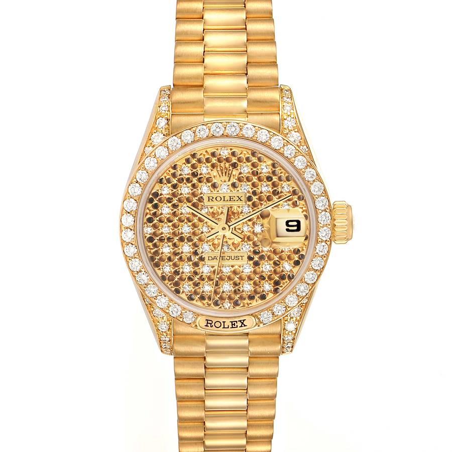 Rolex President Datejust Yellow Gold Honeycomb Diamond Watch 69158 SwissWatchExpo