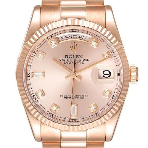 Photo of Rolex President Day Date 36 Everose Gold Diamond Watch 118235 Box Papers