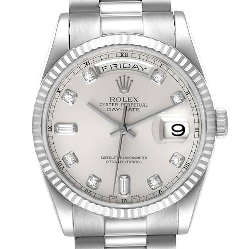 Photo of Rolex President Day-Date White Gold Diamond Dial Mens Watch 118239