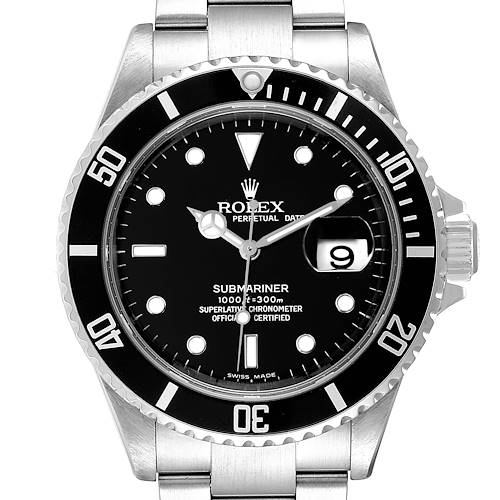 Photo of Rolex Submariner Black Dial Stainless Steel Mens Watch 16610 Box Card