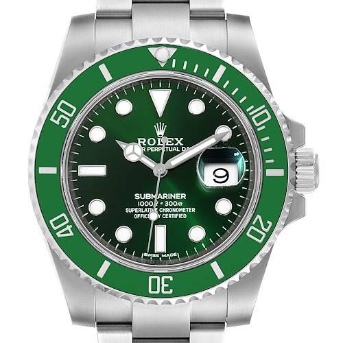 Photo of Rolex Submariner Hulk Green Dial Bezel Steel Mens Watch 116610 Unworn