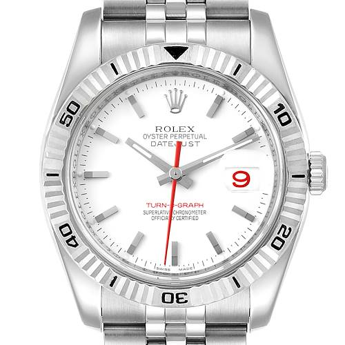 Photo of Rolex Turnograph Steel White Gold Bezel White Dial Mens Watch 116264