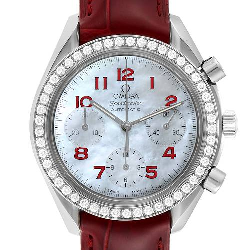 Photo of Omega Speedmaster MOP Diamond Red Strap Ladies Watch 3815.79.40