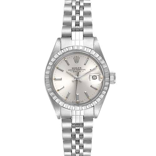 Photo of Rolex Date Silver Baton Dial Automatic Steel Vintage Ladies Watch 6924