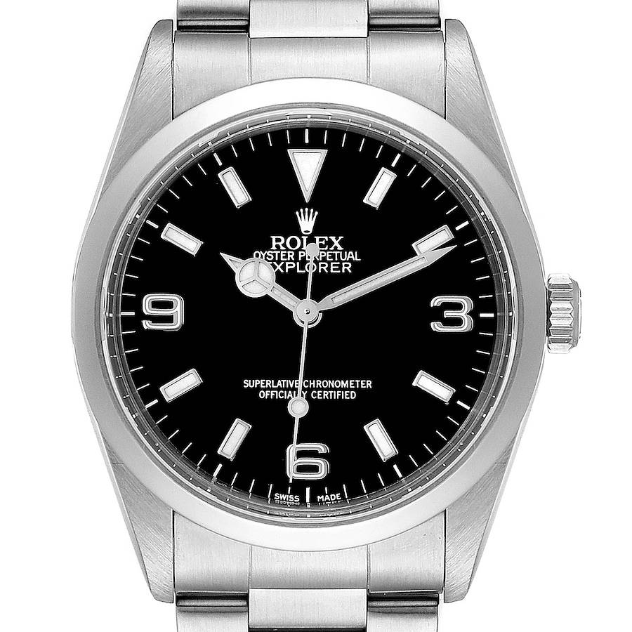 Rolex Explorer I Black Dial Stainless Steel Mens Watch 14270 Box Papers SwissWatchExpo