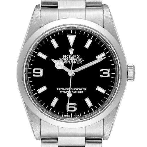 Photo of Rolex Explorer I Black Dial Stainless Steel Mens Watch 14270 Box Papers