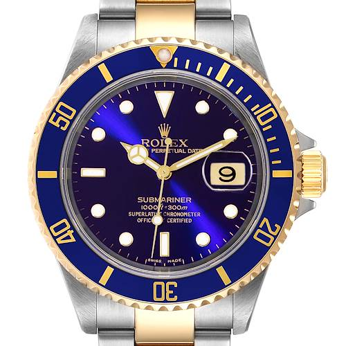Photo of Rolex Submariner Purple Blue Dial Steel Yellow Gold Watch 16613 Box Papers