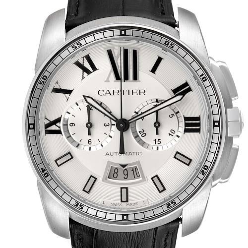 Photo of Calibre De Cartier Steel Chronograph Silver Dial Mens Watch W7100046