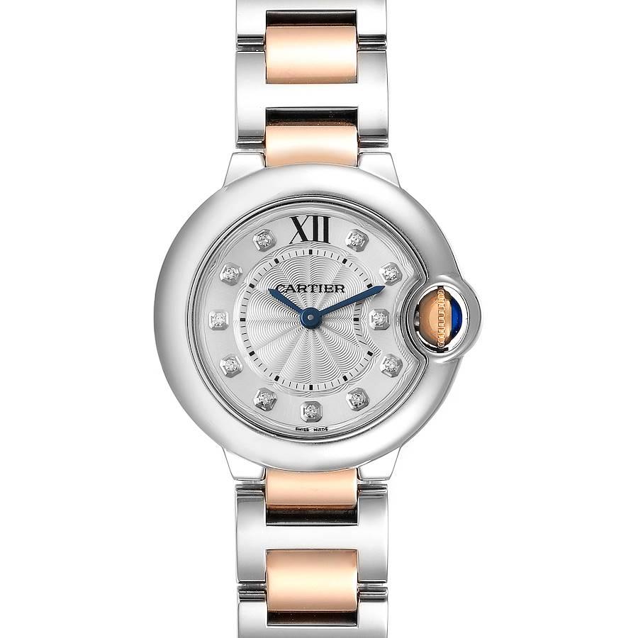 Cartier Ballon Bleu Steel Rose Gold Diamond Ladies Watch WE902030 SwissWatchExpo