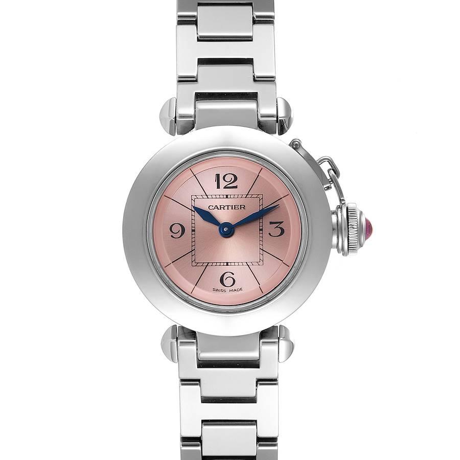 Cartier Miss Pasha Steel Pink Dial Ladies Watch W3140008 Papers SwissWatchExpo