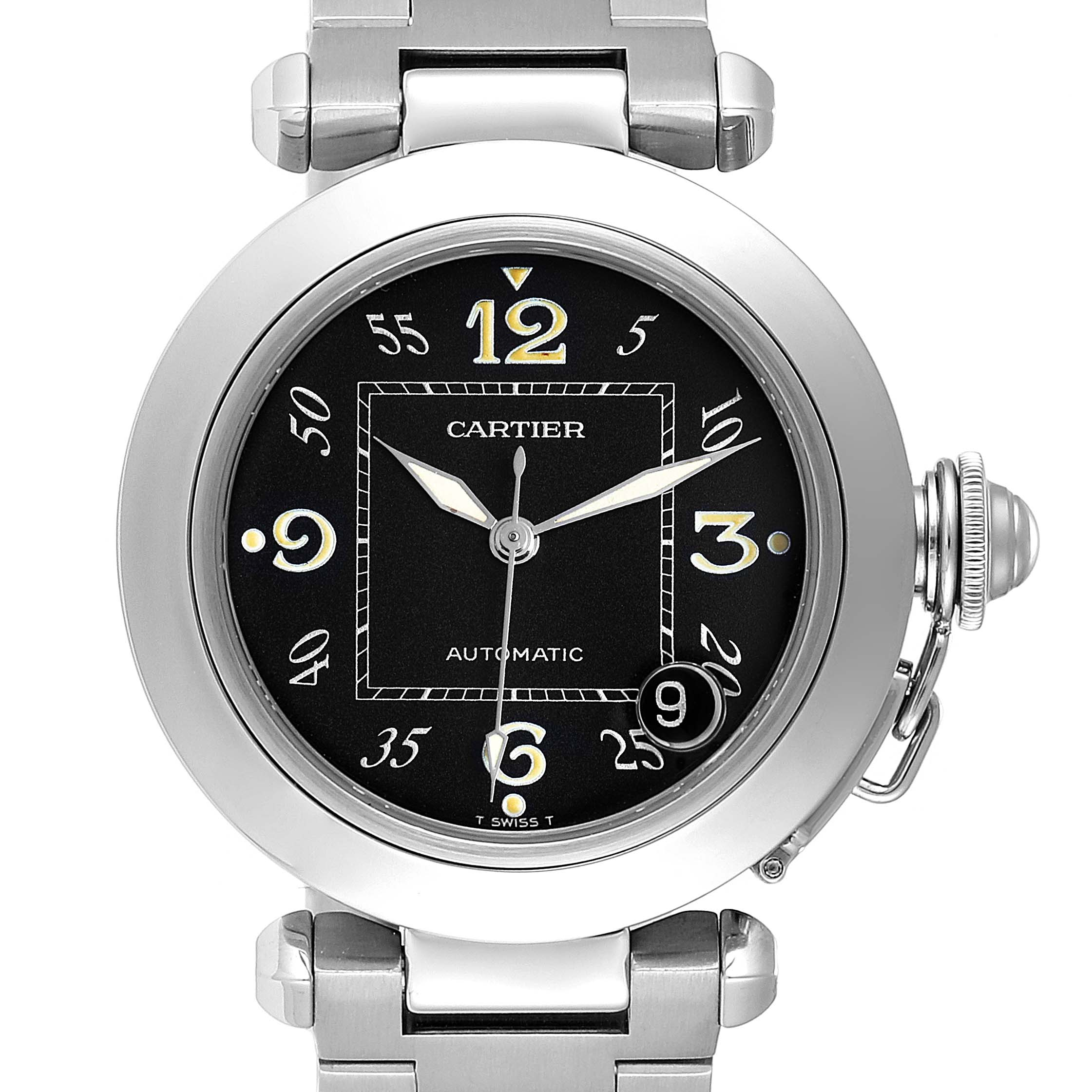 Photo of Cartier Pasha C Midsize 35mm Black Dial Steel Mens Watch W31043M7