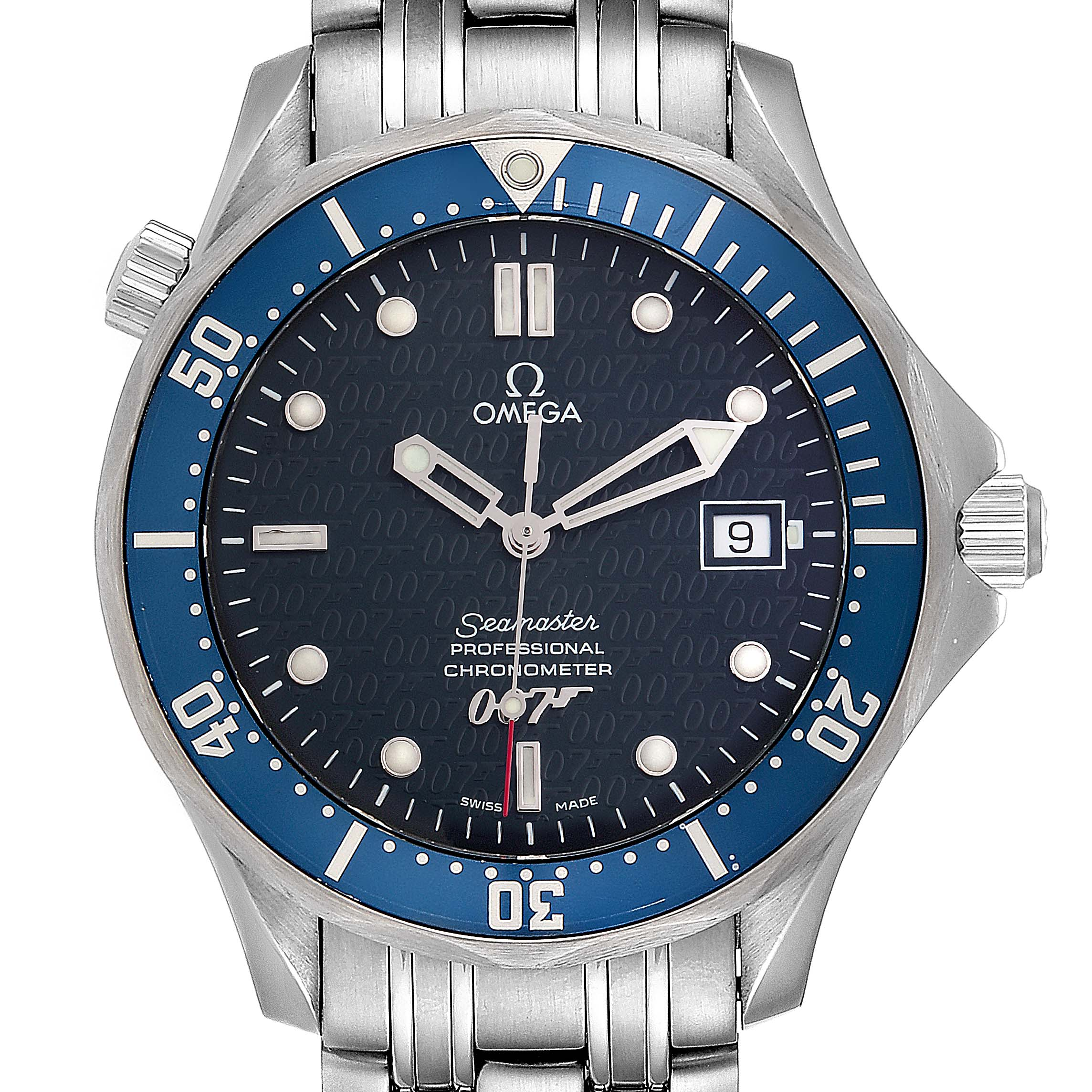 Omega Seamaster 40 Years James Bond Blue Dial Watch 2537.80.00 Card