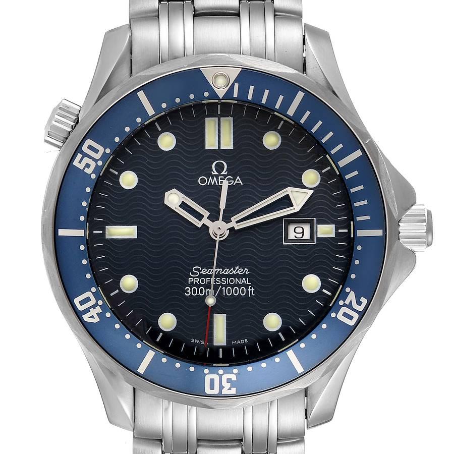 Omega Seamaster 41mm James Bond Blue Dial Steel Watch 2541.80.00 SwissWatchExpo