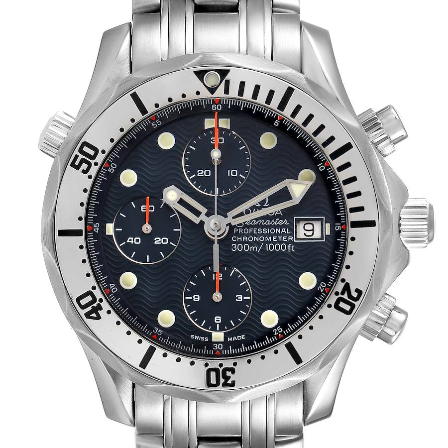 Omega Seamaster Chronograph Blue Dial Steel Mens Watch 2598.80.00 SwissWatchExpo
