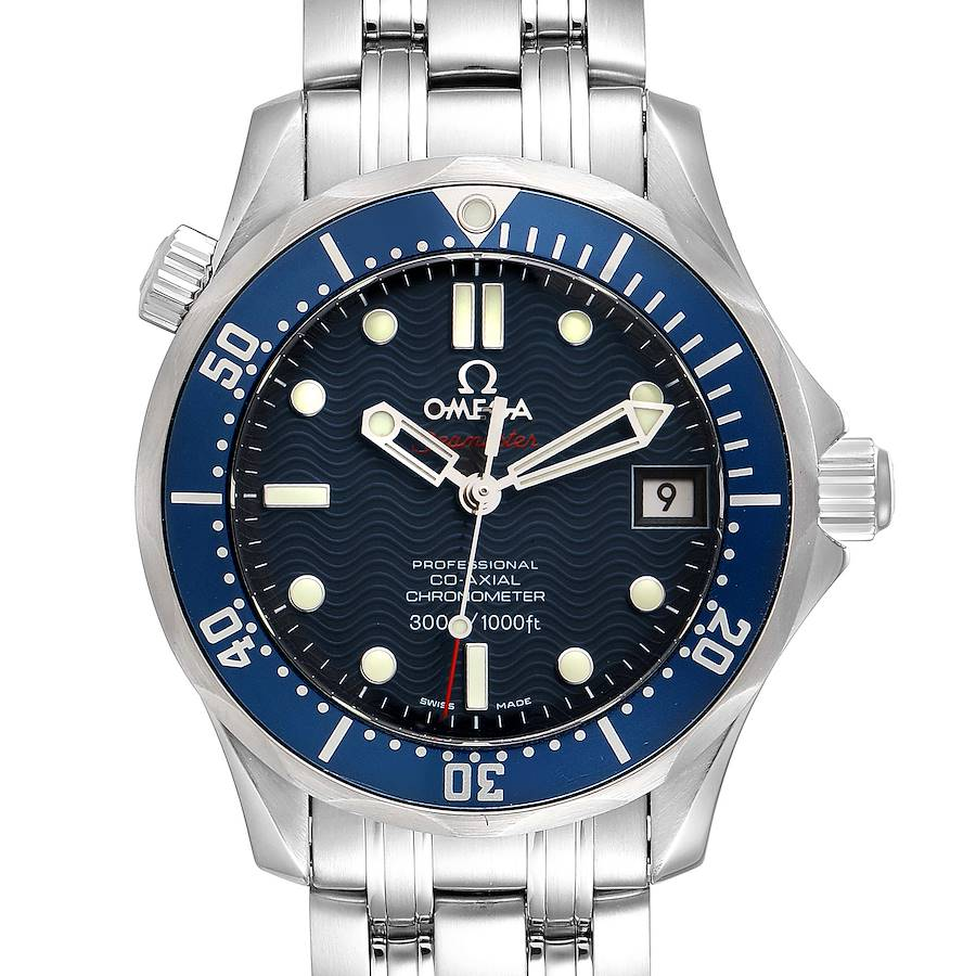 Omega Seamaster Midsize 36mm Co-Axial Blue Dial Watch 2222.80.00 Box Card SwissWatchExpo