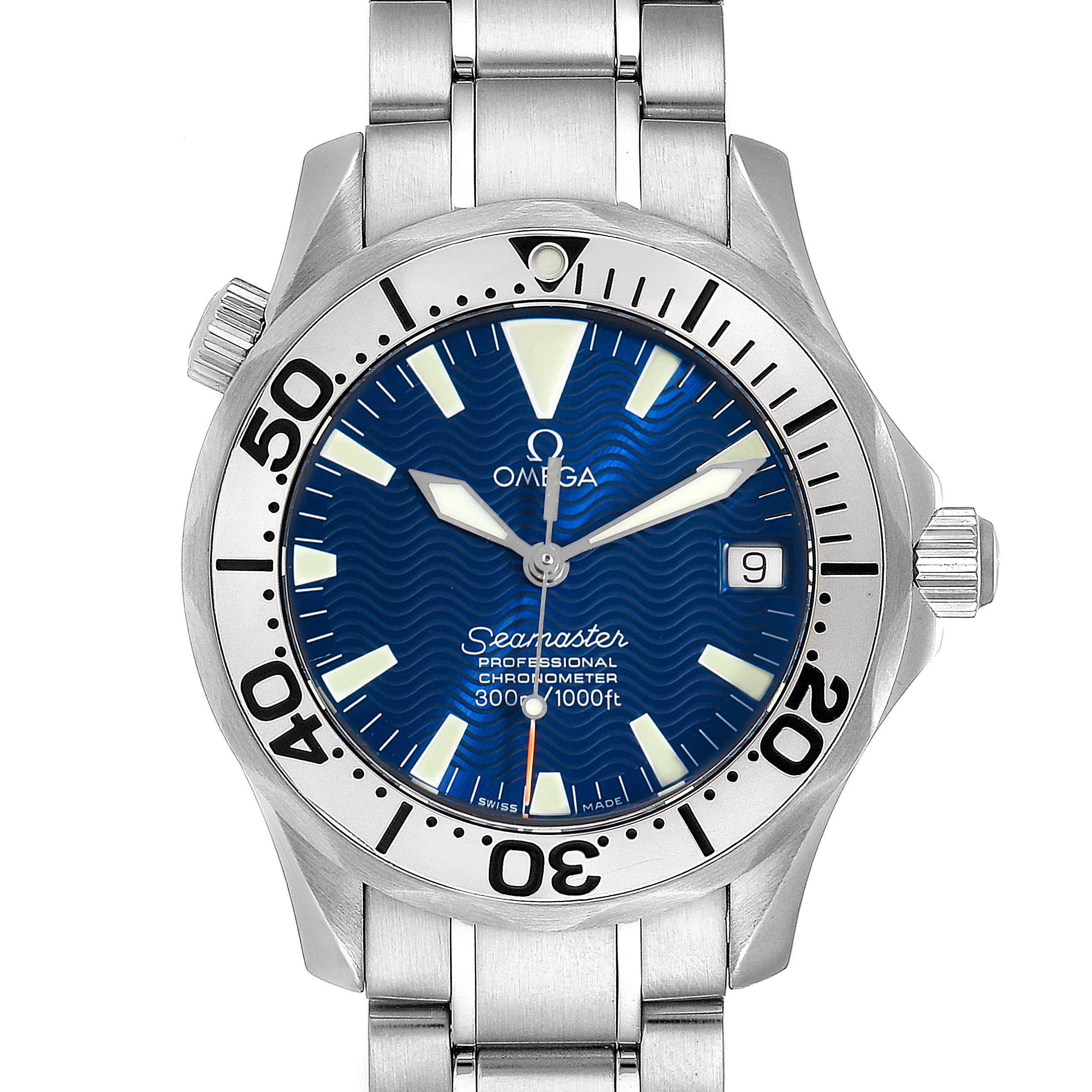 Omega Seamaster Midsize Blue Wave Dial Steel Mens Watch 2553.80.00