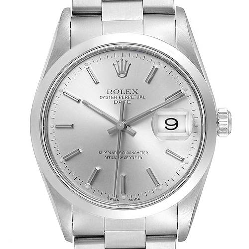 Photo of Rolex Date Silver Dial Oyster Bracelet Steel Mens Watch 15200 Box Papers
