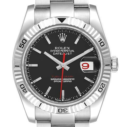 Photo of Rolex Datejust 36 Turnograph Black Dial Steel Mens Watch 116264