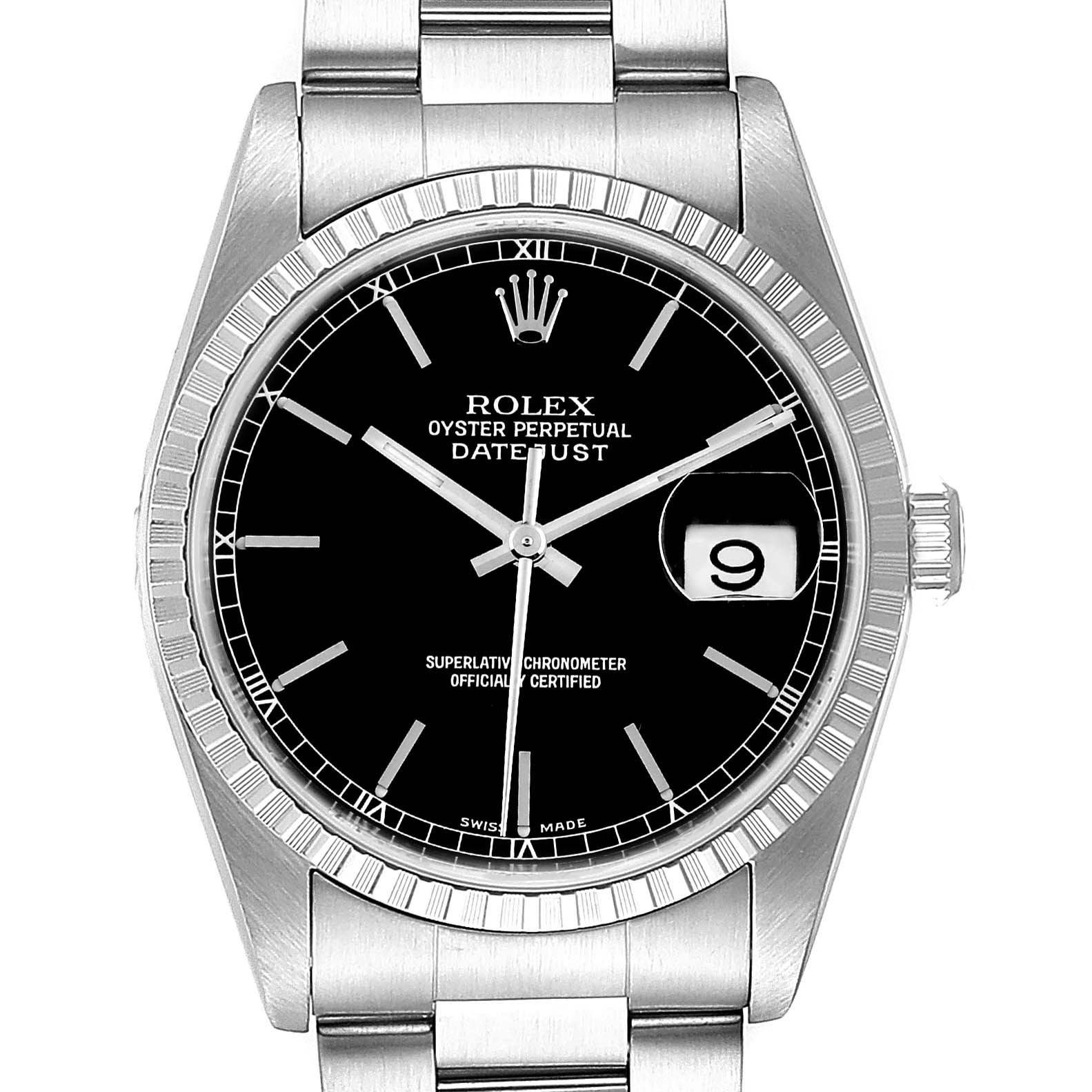 Rolex Datejust 36mm Black Dial Jubilee Bracelet Steel Mens Watch 16220
