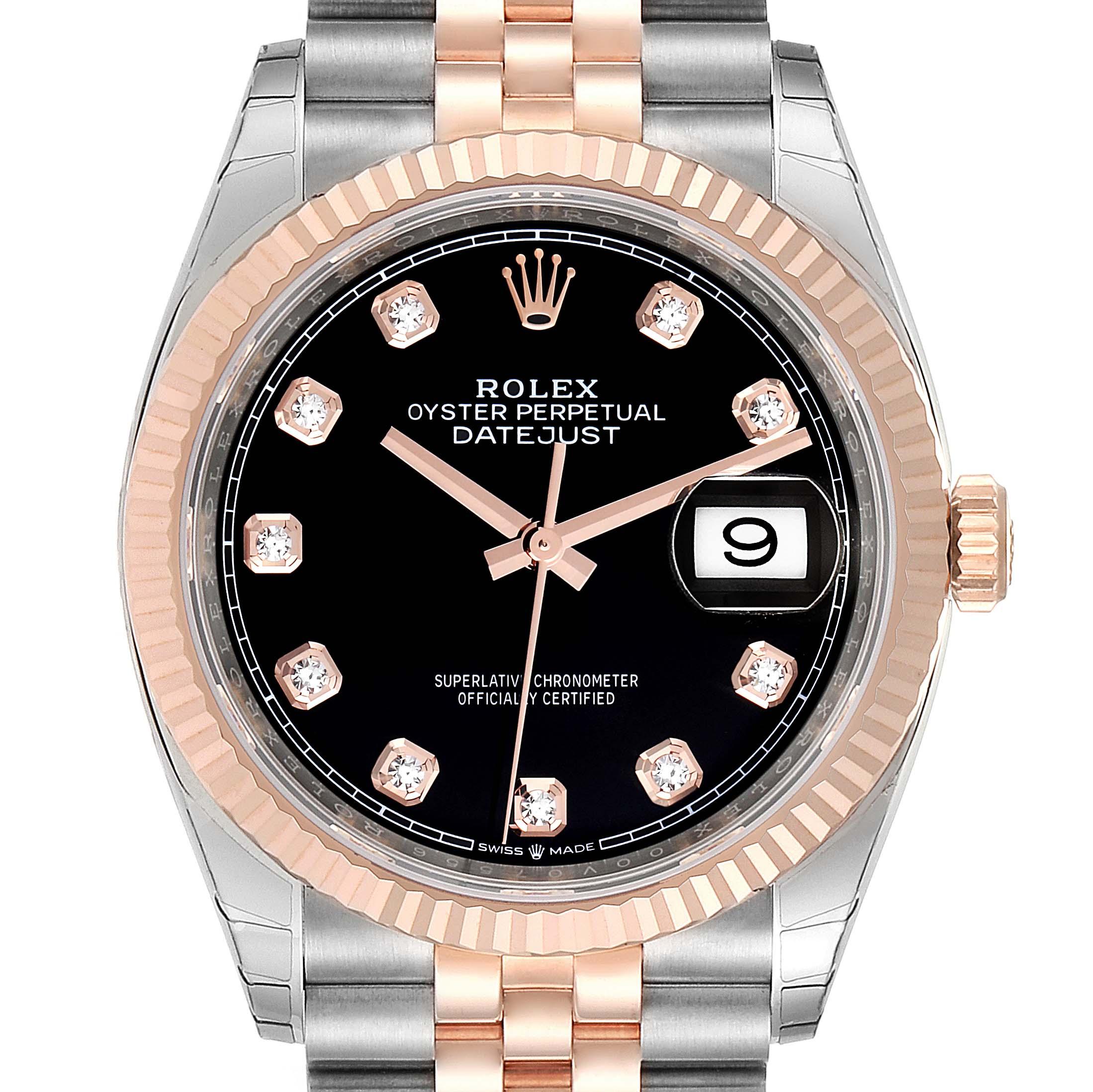 Rolex Datejust Black Diamond Dial Steel EveRose Gold Watch 126231 Unworn