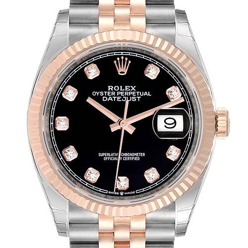 Photo of Rolex Datejust Black Diamond Dial Steel EveRose Gold Watch 126231 Unworn