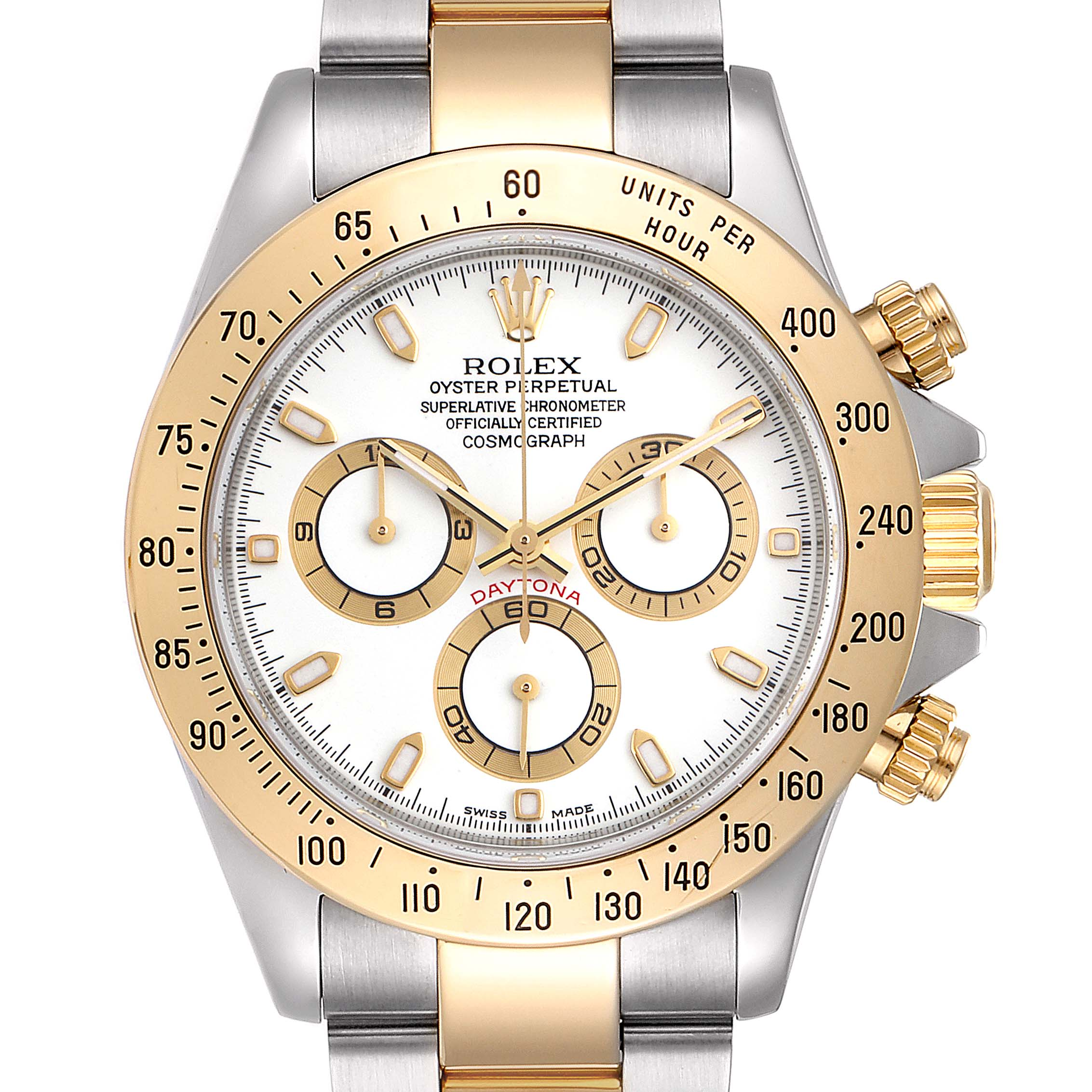 Rolex Daytona Steel Yellow Gold White Dial Chronograph Mens Watch 116523