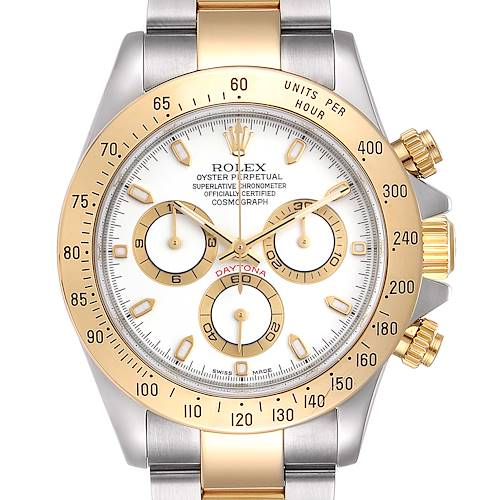 Photo of Rolex Daytona Steel Yellow Gold White Dial Chronograph Mens Watch 116523