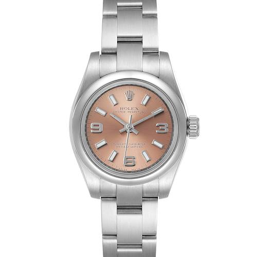 Photo of Rolex Nondate Salmon Dial Oyster Bracelet Steel Ladies Watch 176200