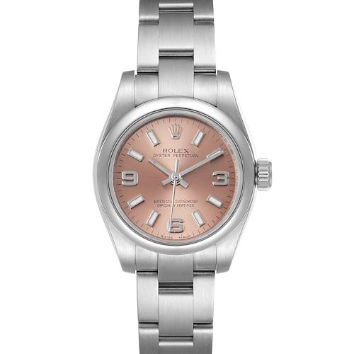 Photo of Rolex Nondate Salmon Dial Oyster Bracelet Steel Ladies Watch 176200 Box Card