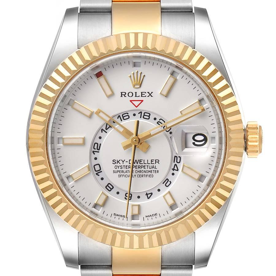 Rolex Sky Dweller Yellow Gold Steel White Dial Mens Watch 326933 Unworn SwissWatchExpo