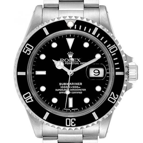 Photo of Rolex Submariner Black Dial Stainless Steel Mens Watch 16610 Box Papers