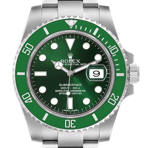 Photo of Rolex Submariner Hulk Green Dial Bezel Steel Mens Watch 116610 Box Card