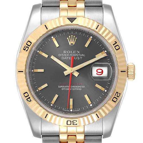 Photo of Rolex Turnograph Datejust Steel Yellow Gold Slate Dial Watch 116263 Box Card