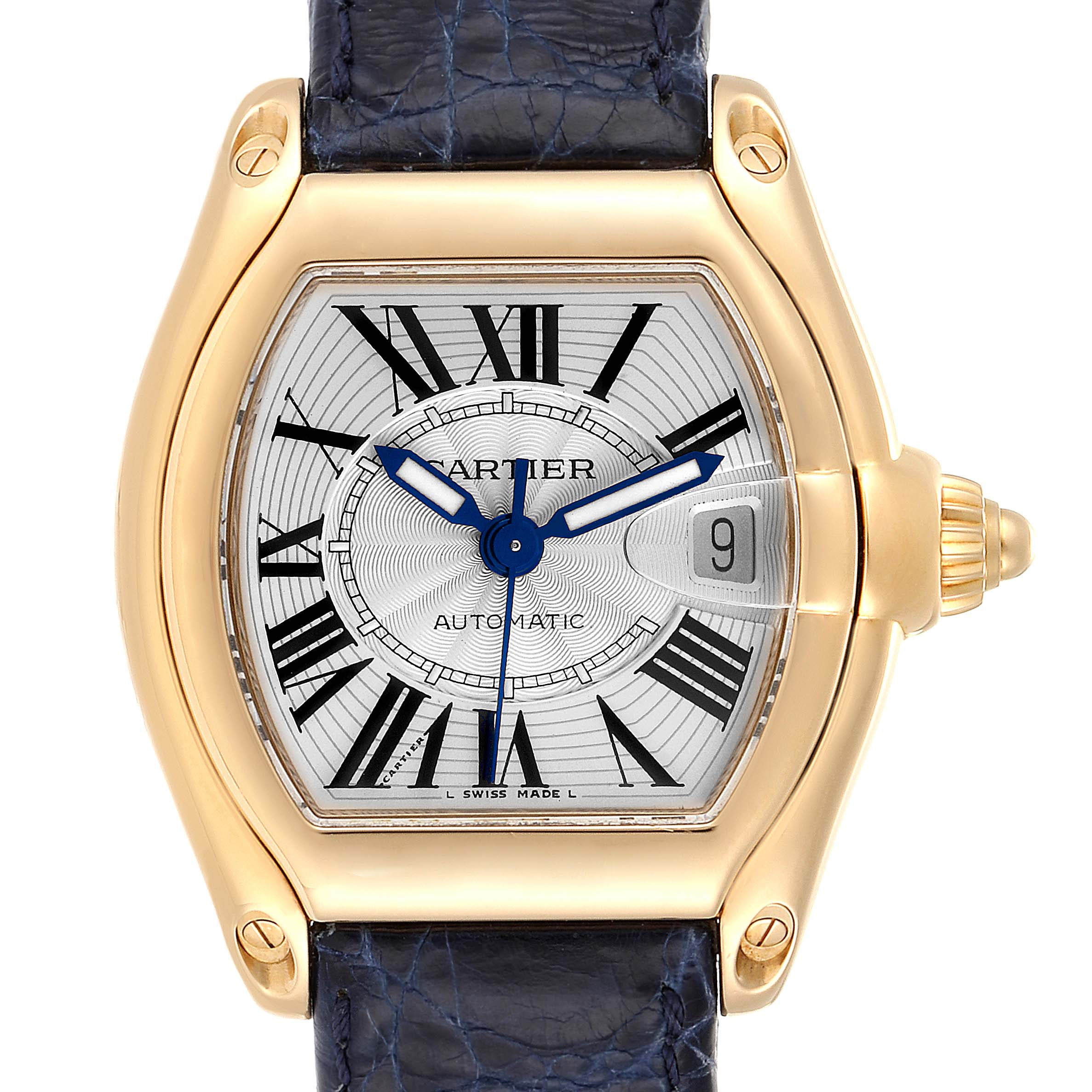 Cartier Roadster Yellow Gold Blue Strap Large Mens Watch W62005V2