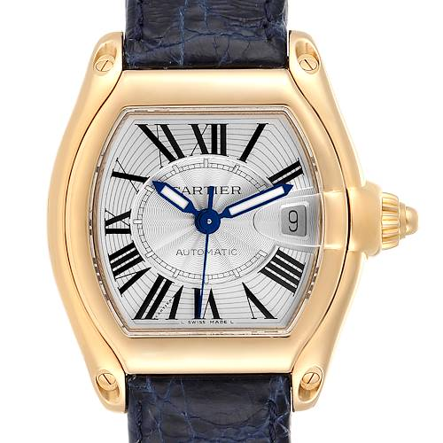 Photo of Cartier Roadster Yellow Gold Blue Strap Large Mens Watch W62005V2