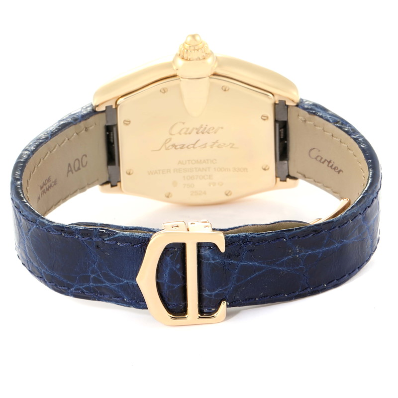 Cartier Roadster Yellow Gold Blue Strap Large Mens Watch W62005V2 SwissWatchExpo
