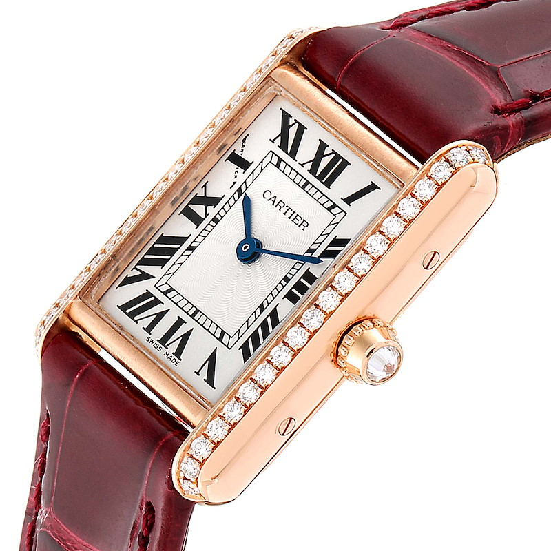 Cartier Tank Louis Rose Gold Diamond Brown Strap Ladies Watch WJTA0010 SwissWatchExpo