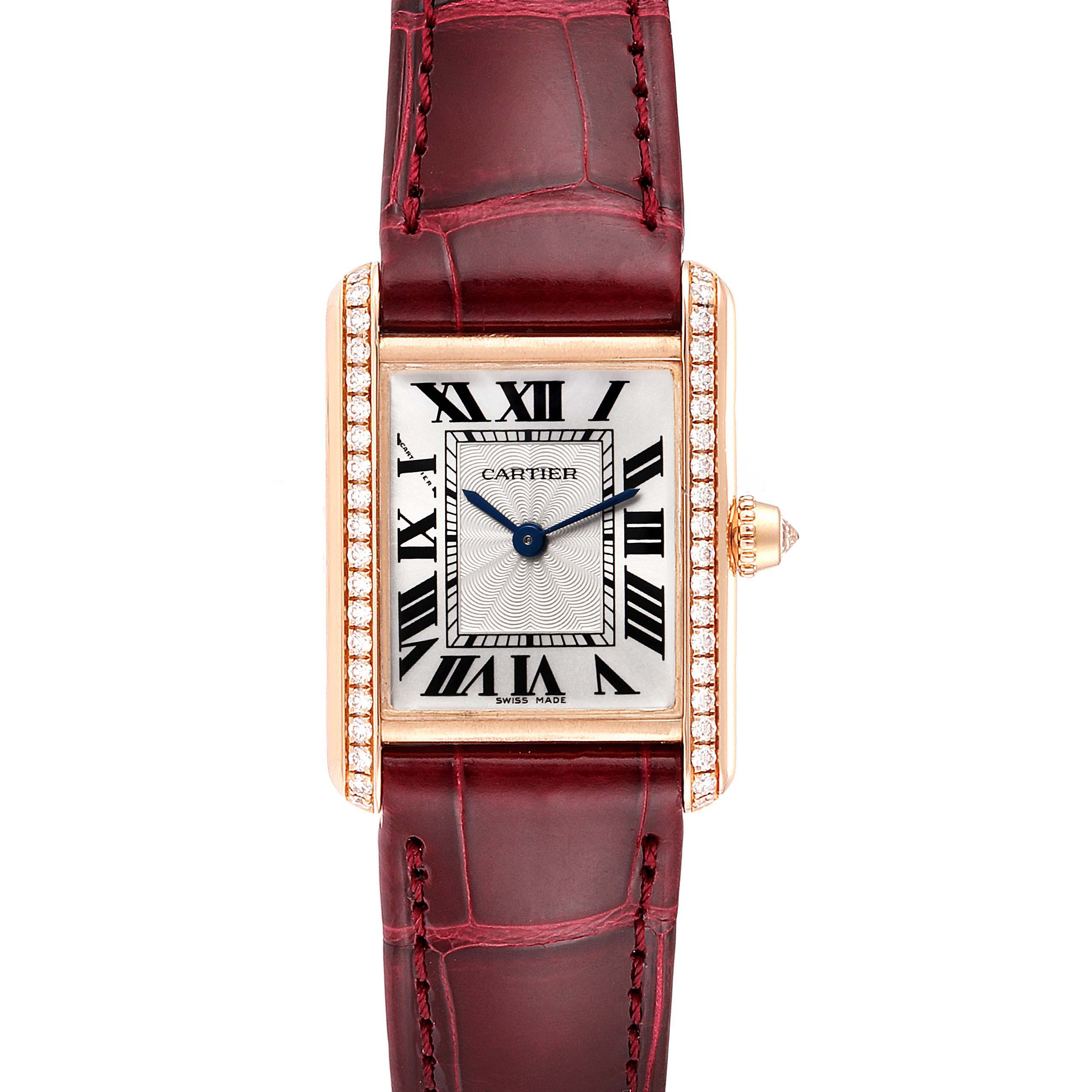 Cartier Tank Louis Rose Gold Diamond Brown Strap Ladies Watch WJTA0010