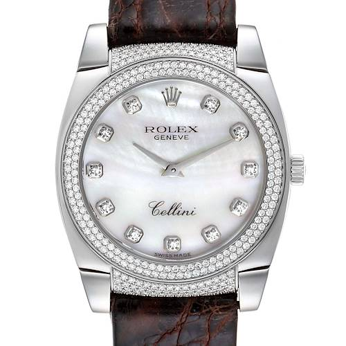 Photo of Rolex Cellini Cestello 18K White Gold MOP Diamond Ladies Watch 6321